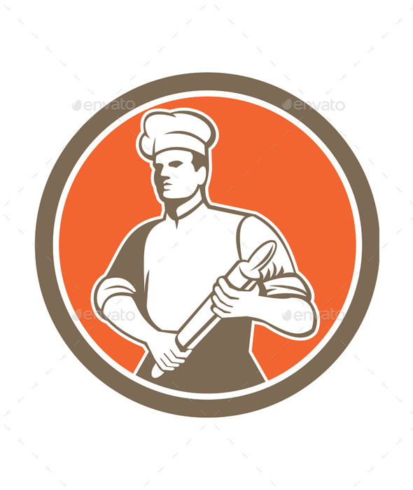 Chef with Rolling Pin Circle  - People Characters
