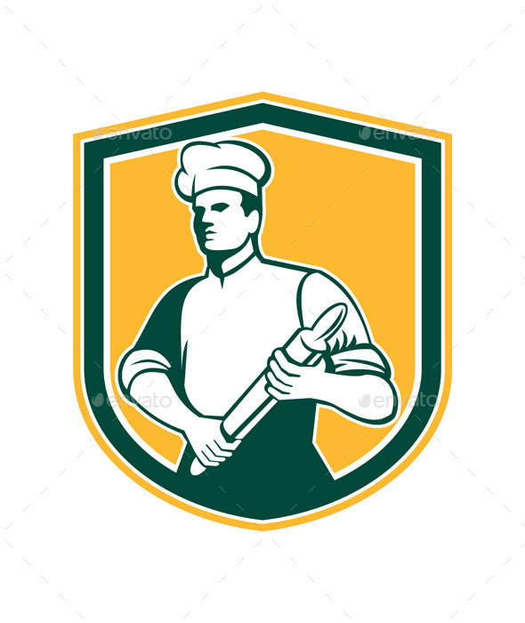 Chef with Rolling Pin Shield - People Characters