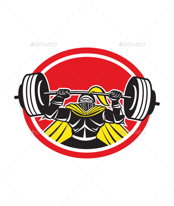 Black Knight Lifting Barbell Front Circle - Sports/Activity Conceptual