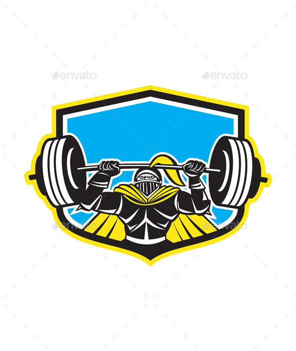 Black Knight Lifting Barbell Front Shield - Sports/Activity Conceptual