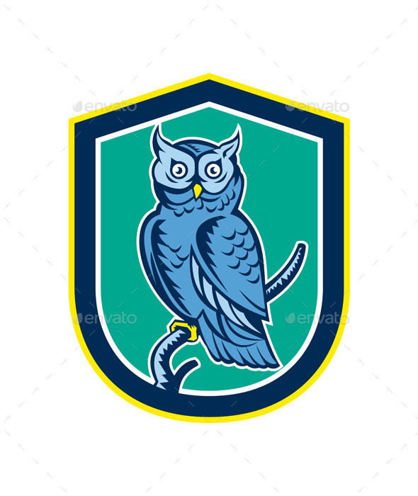 Great Horned Owl on Branch Shield - Animals Characters
