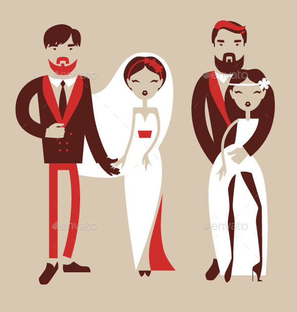 Man and Woman Getting Married - People Characters