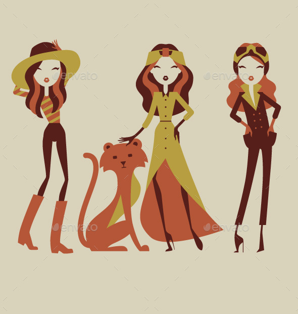 Fashion Girls on Safari Vacation - People Characters