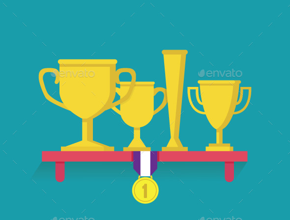 Trophy and Awards on Shelf - Sports/Activity Conceptual