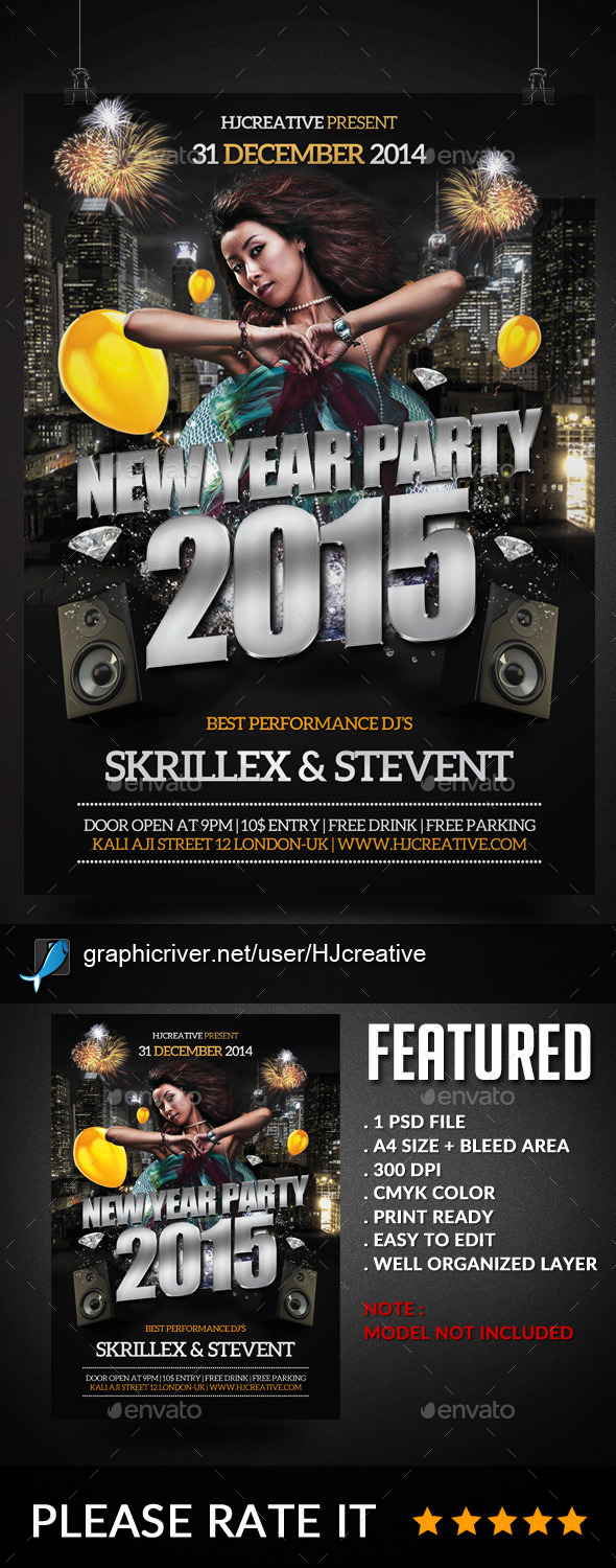 New Year Poster Flyer Template V. 2 - Clubs & Parties Events