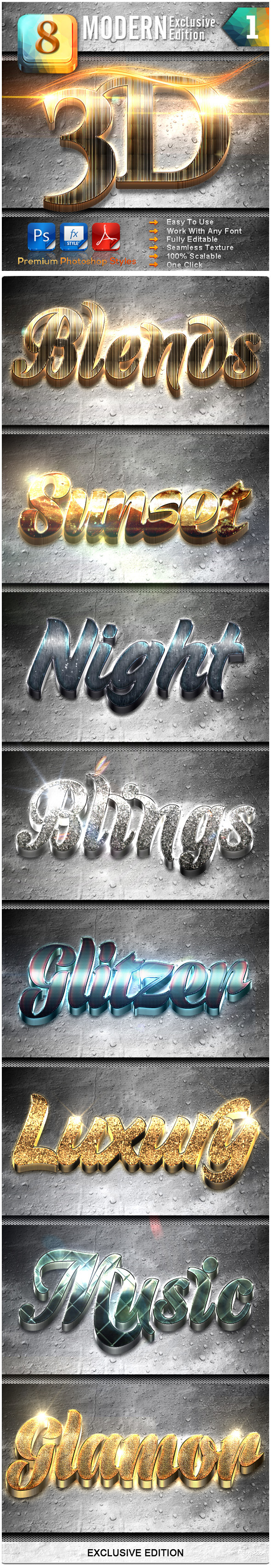 8 Modern 3D Exclusive Edition Vol.1 - Text Effects Styles
