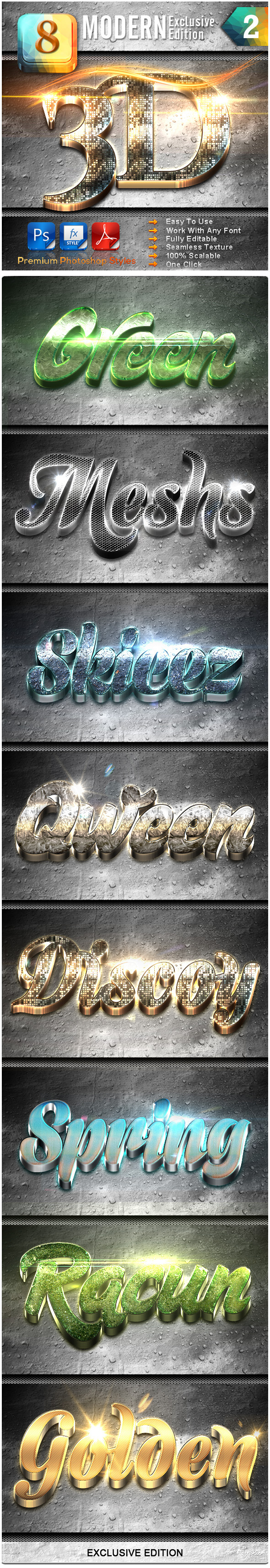 8 Modern 3D Exclusive Edition Vol.2 - Text Effects Styles