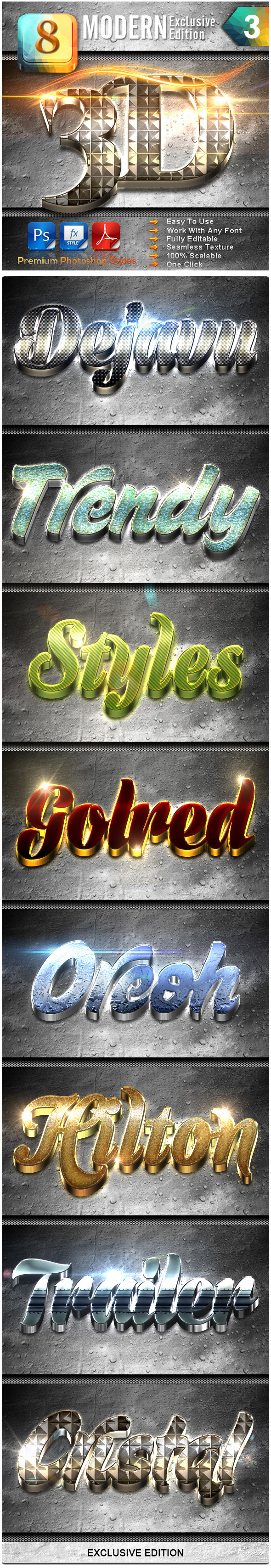 8 Modern 3D Exclusive Edition Vol.3 - Text Effects Styles
