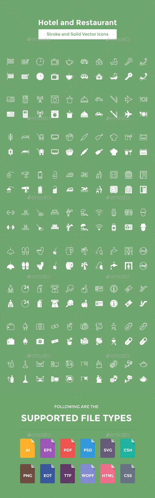 Hotel and Restaurant Vector Icons - Icons