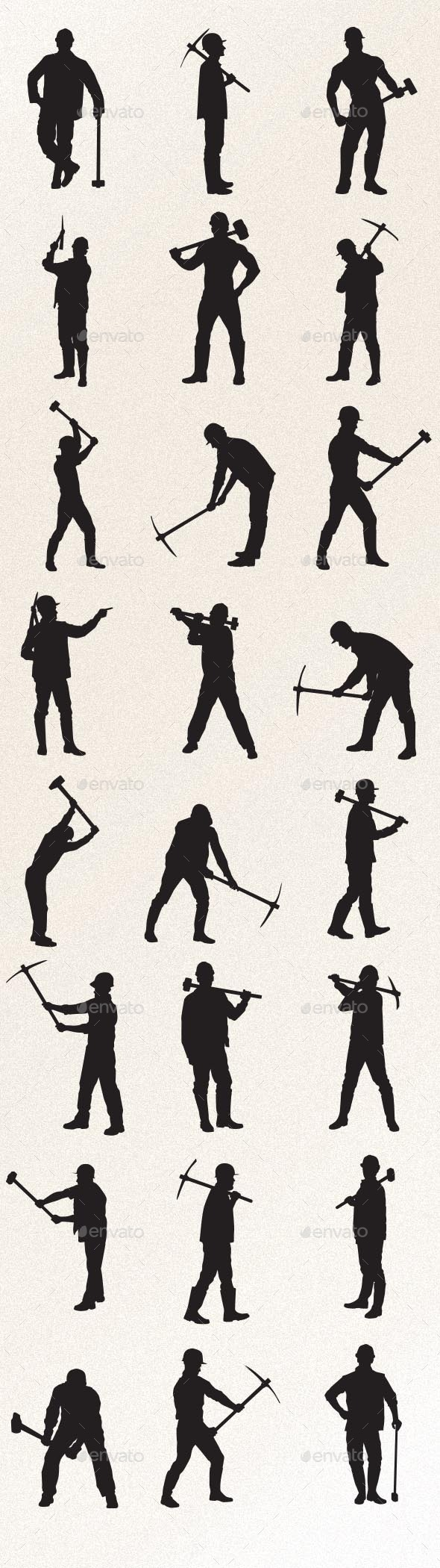 Worker with Sledgehammer and Pickaxe - People Characters