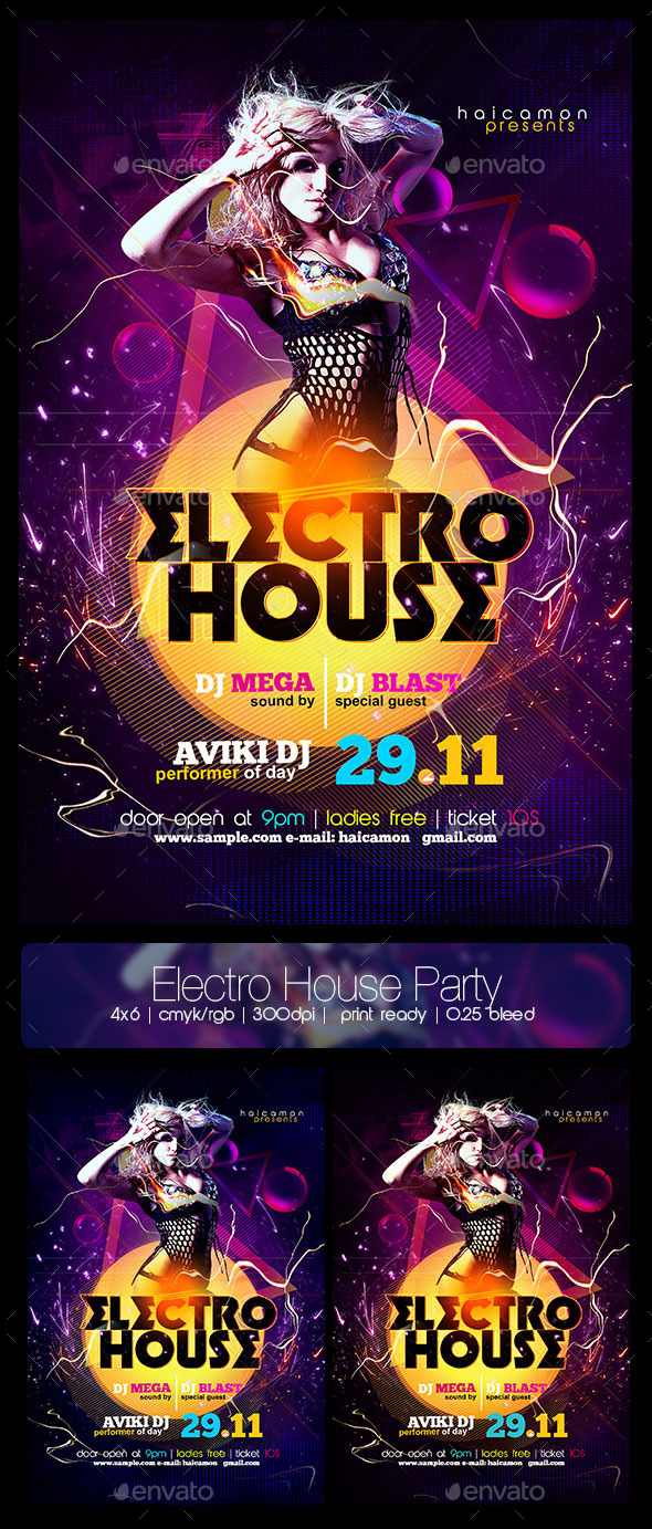 Electro House Party Flyer - Flyers Print Templates