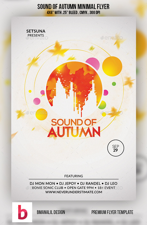 Sound of Autumn Minimal Flyer - Clubs & Parties Events