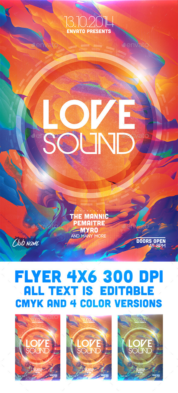 Love Sound Flyer Template - Clubs & Parties Events