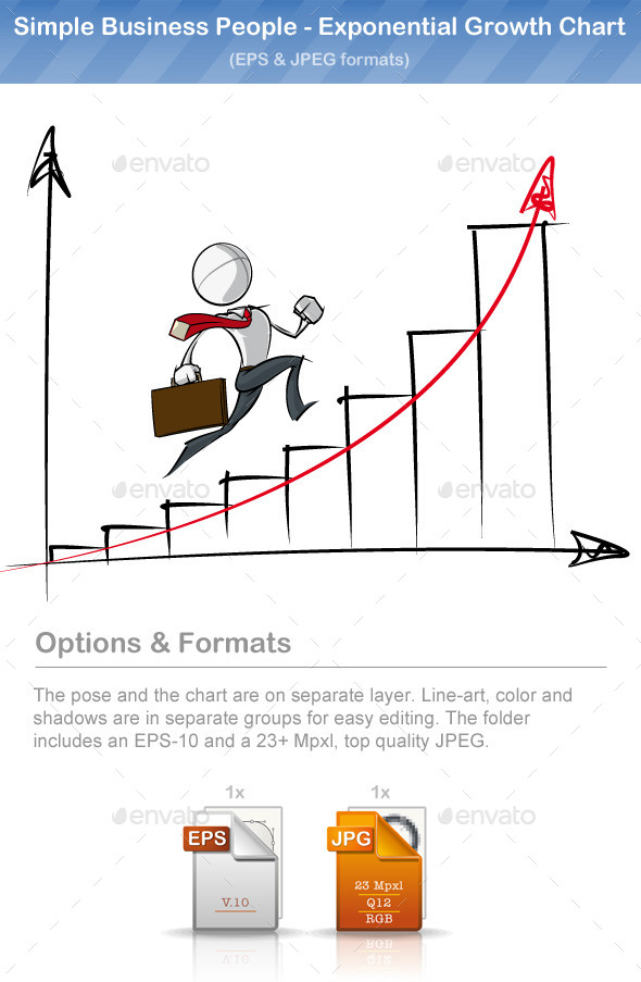 Simple Business People - Exponential Growth Chart - People Characters