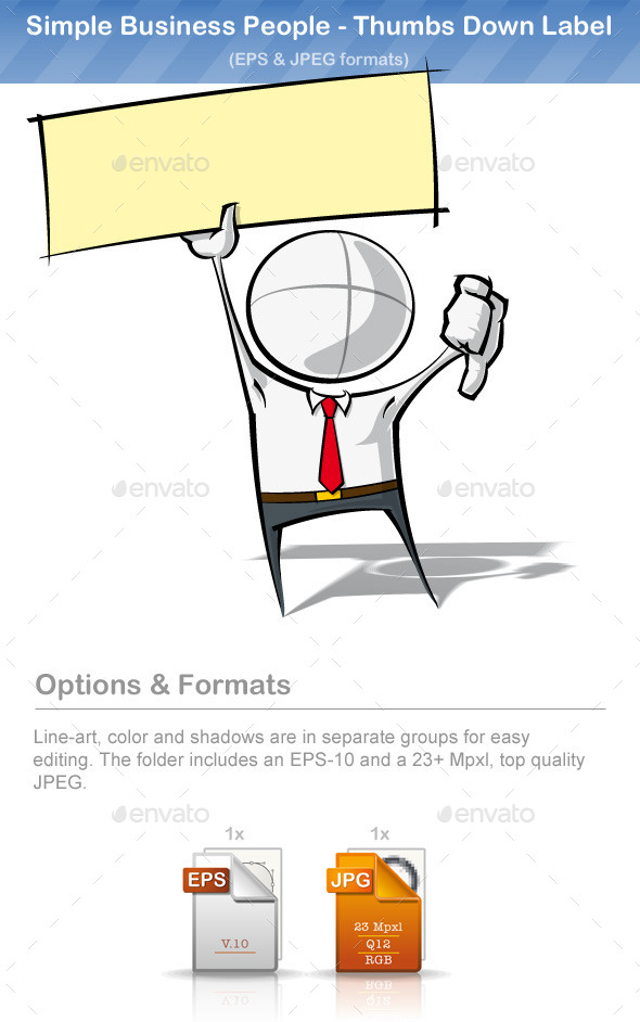 Simple Business People - Thumbs Down Label - People Characters
