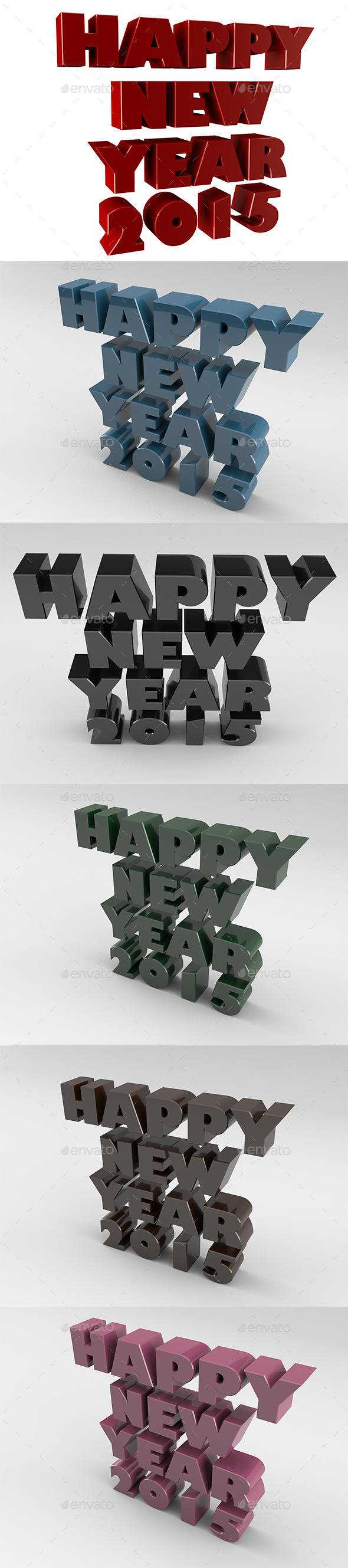 Happy New Year 2015 - Text 3D Renders
