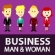Cartoon Business Man and Woman Wearing Suit - GraphicRiver Item for Sale