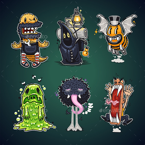 Cartoon Characters Set - Monsters Characters
