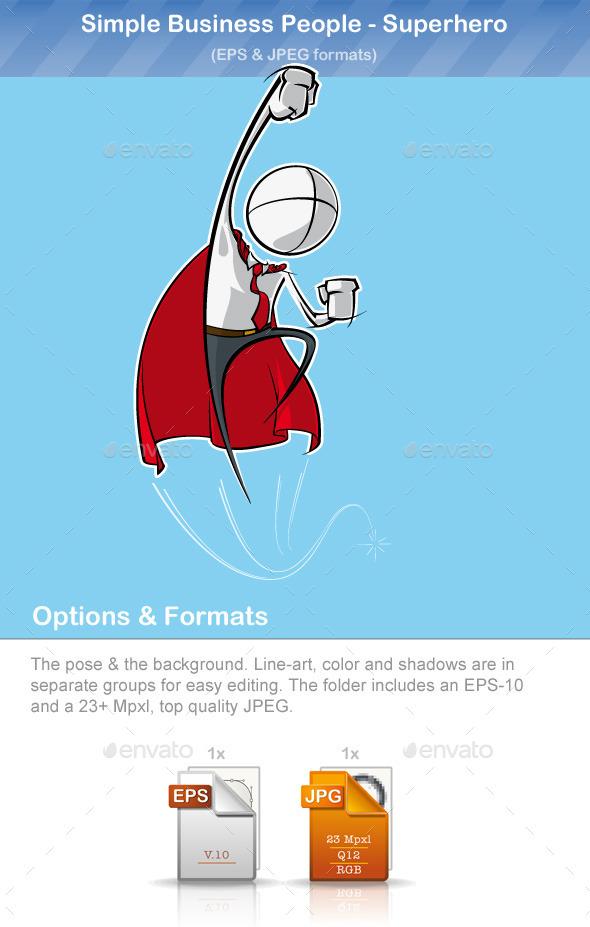 Simple Business People - Superhero - People Characters