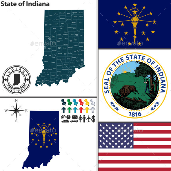 Map of State Indiana, USA - Travel Conceptual