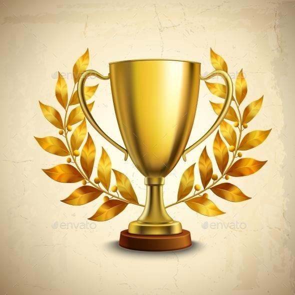 Golden Trophy Emblem - Objects Vectors
