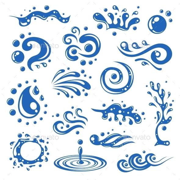 Water Splashes Icons - Decorative Symbols Decorative