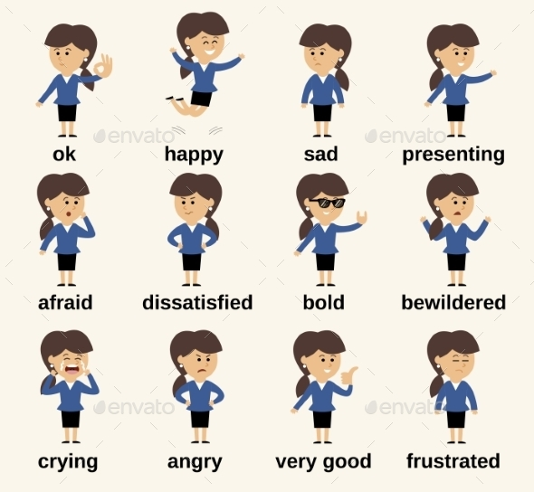 Business Woman Character Emotions - People Characters