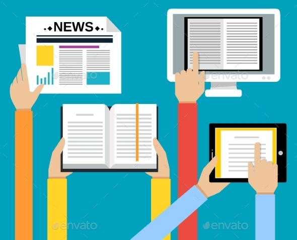 Business Hands Reading Concept - Media Technology