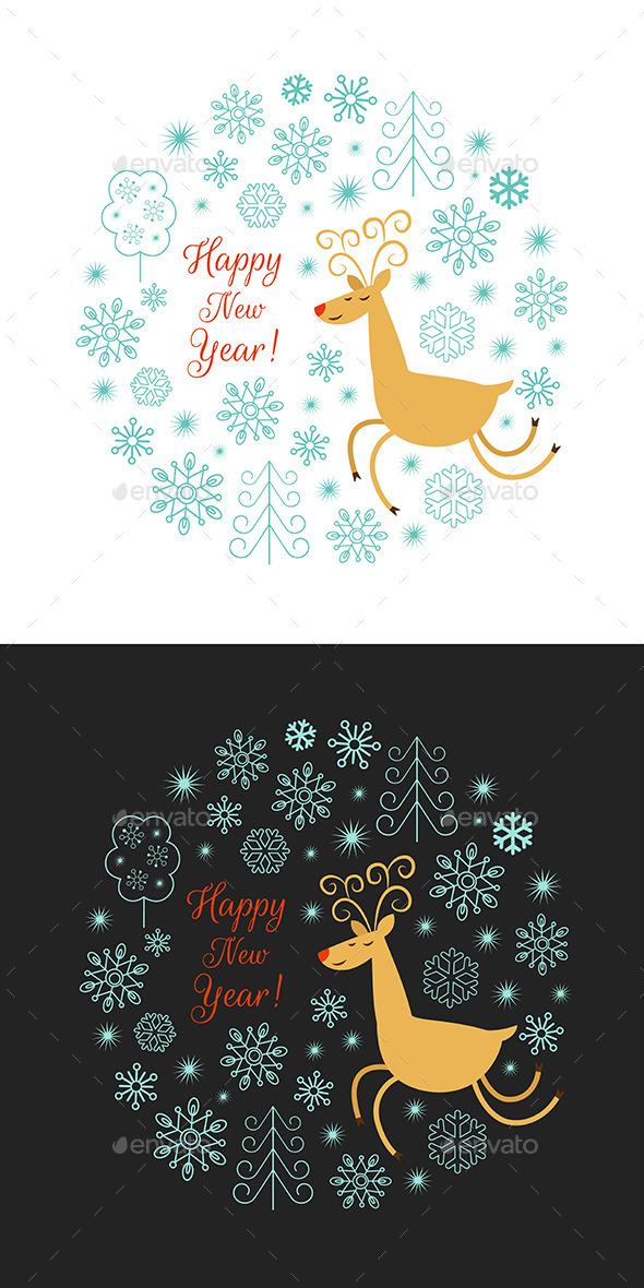 Christmas Deer Illustration - Christmas Seasons/Holidays