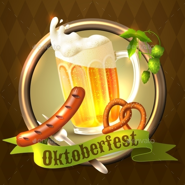 Oktoberfest Festival Background - Food Objects