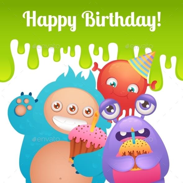 Birthday Monsters Card - Birthdays Seasons/Holidays