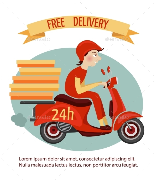 Scooter Delivery Poster - Business Conceptual