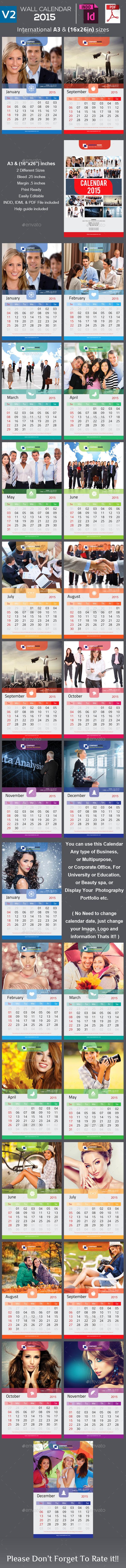 Clean Wall Calendar 2015 V2 - Calendars Stationery