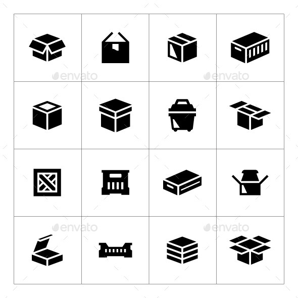 Set Icons of Box - Man-made objects Objects