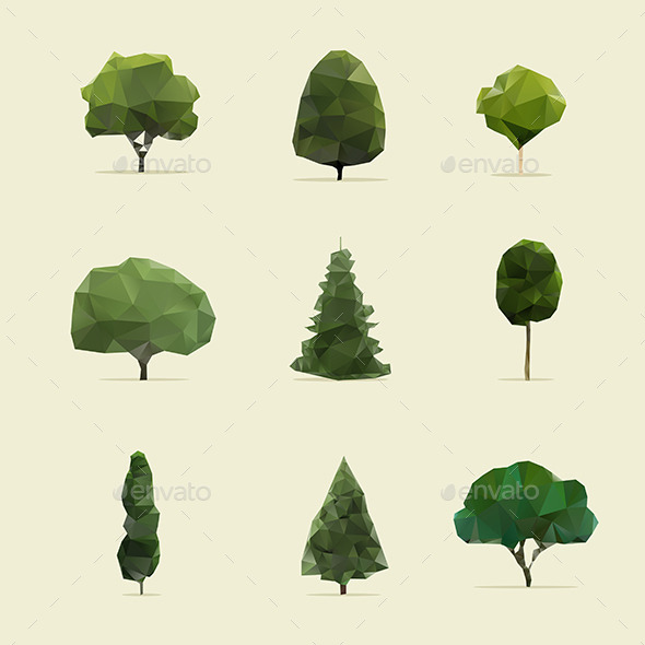 Set of Geometric Trees - Flowers & Plants Nature