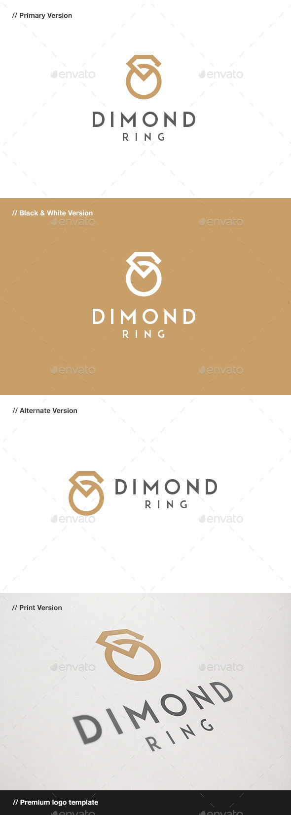 Diamond Ring - Jewelry Logo - Objects Logo Templates