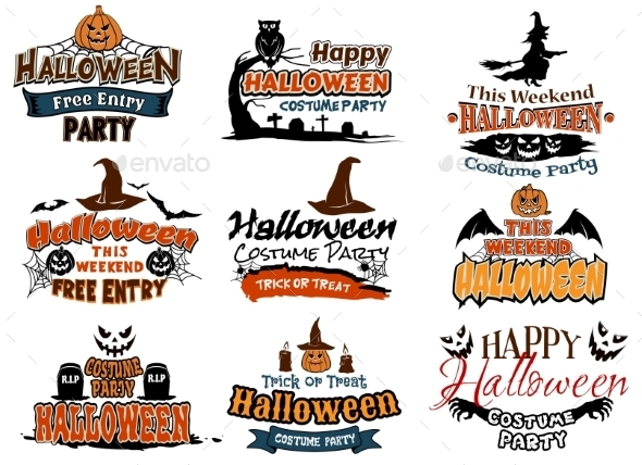 Colorful Set of Happy Halloween Designs - Halloween Seasons/Holidays