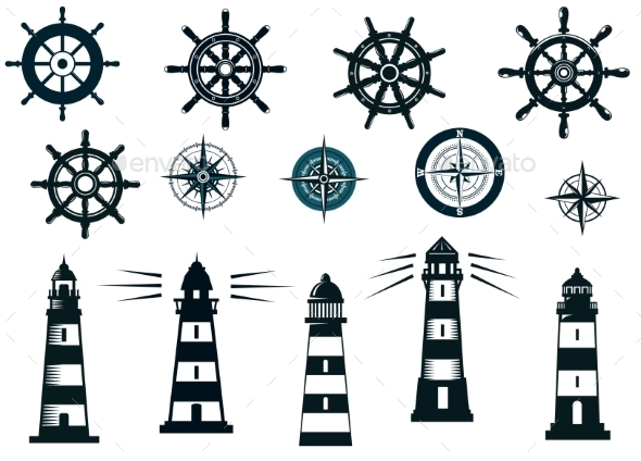 Set of Marine or Nautical Themed Icons - Travel Conceptual