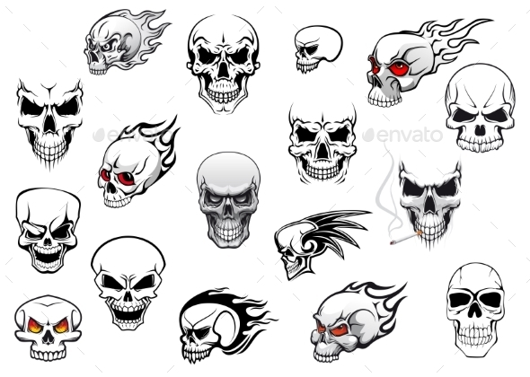 Collection of Halloween and Horror Skulls - Tattoos Vectors