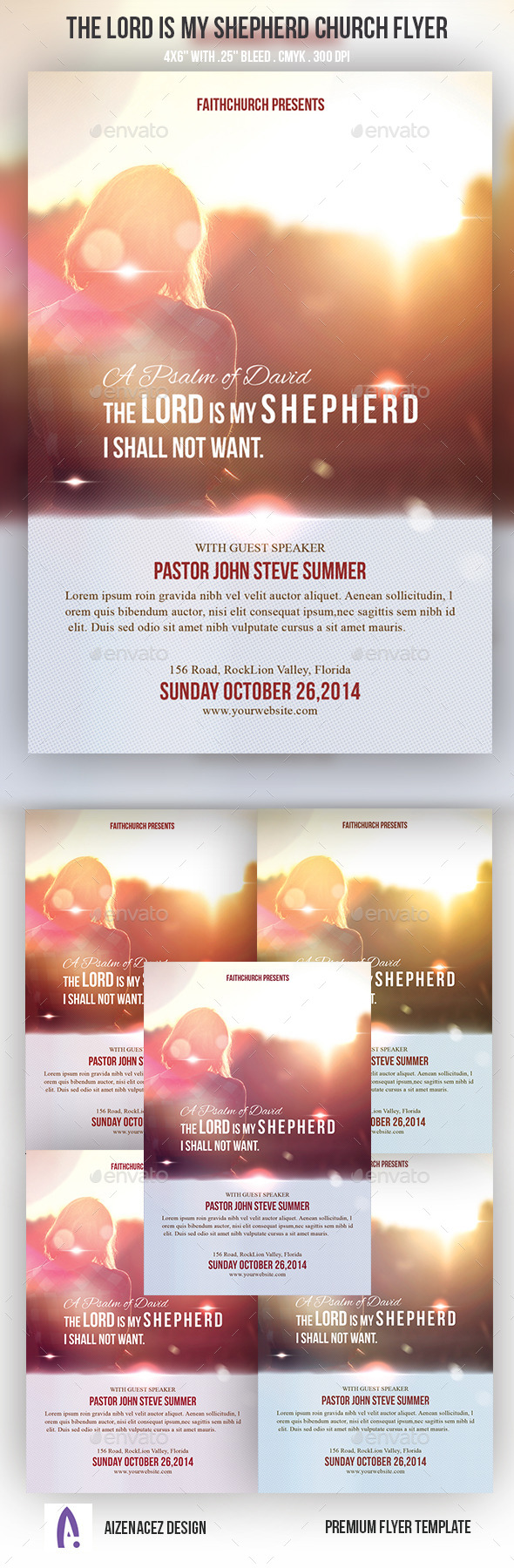 The Lord Is My Shepherd Church Flyer - Church Flyers
