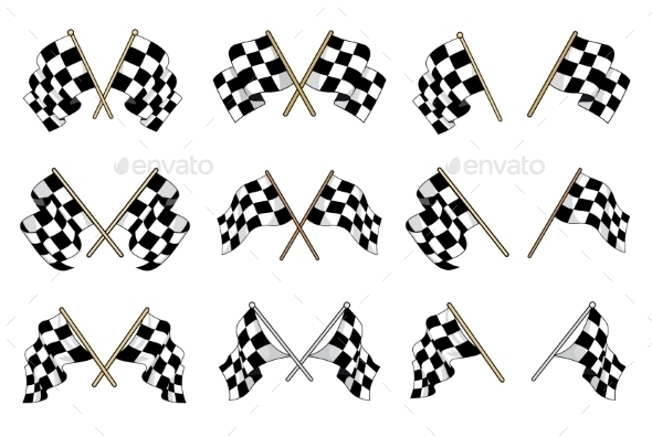 Set of Checkered Flags - Sports/Activity Conceptual