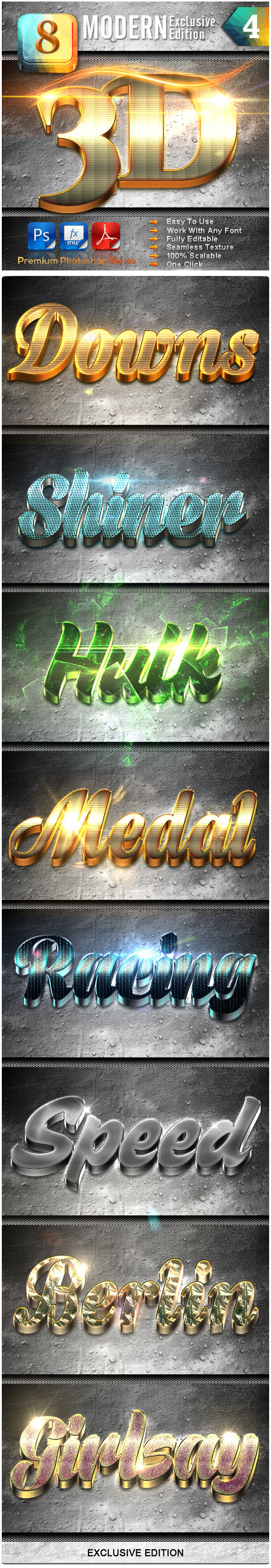 8 Modern 3D Exclusive Edition Vol.4 - Text Effects Styles
