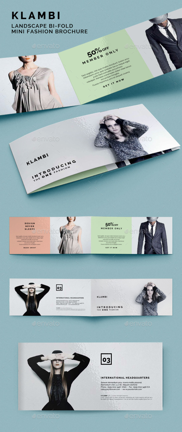 Landscape bifold mini fashion brochure klambi by boxkayu for Mini brochure template