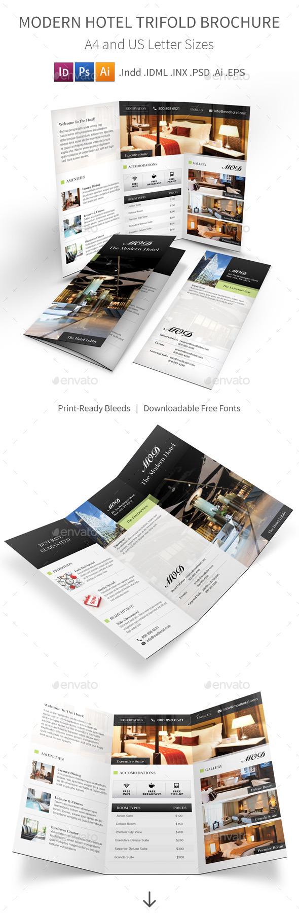 Modern Hotel Trifold Brochure - Informational Brochures