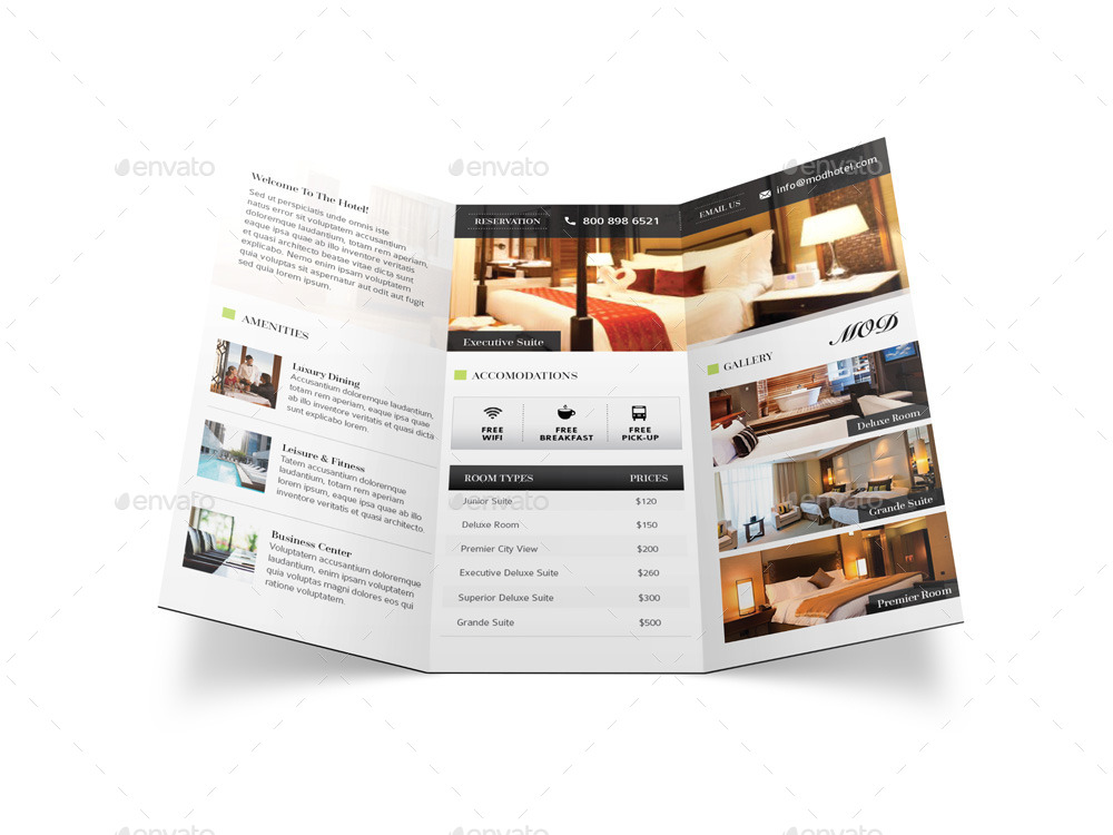 modern hotel trifold brochure by mike pantone graphicriver. Black Bedroom Furniture Sets. Home Design Ideas