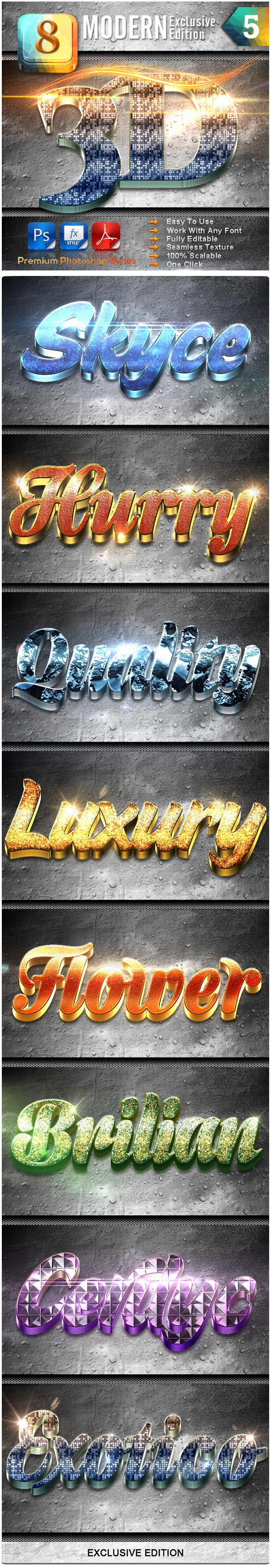 8 Modern 3D Exclusive Edition Vol.5 - Text Effects Styles