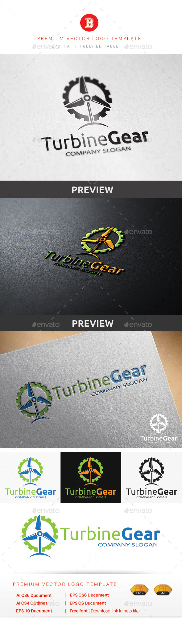 Turbine Gear - Objects Logo Templates