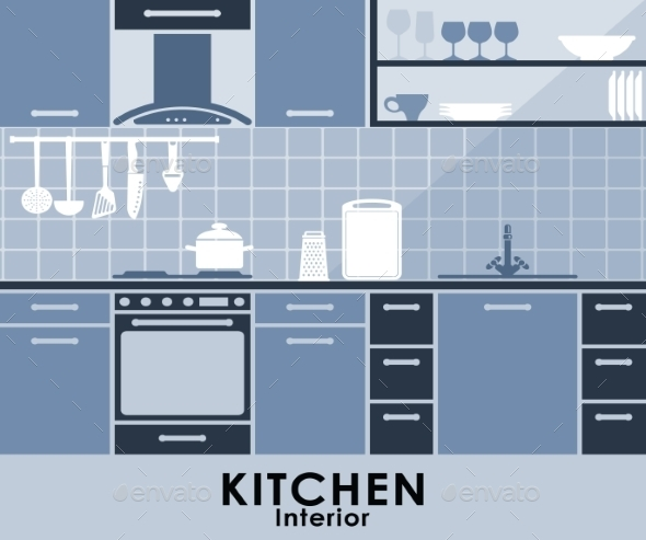 Blue Kitchen Interior in Flat Style - Miscellaneous Vectors