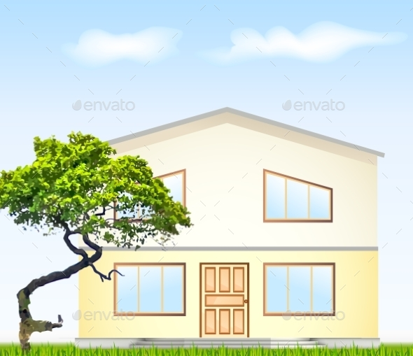 Vector Illustration Facade with Tree - Buildings Objects