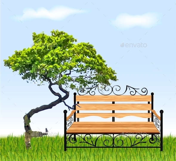 Bench with Tree and Grass - Buildings Objects